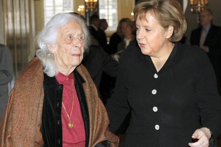 Freya von Moltke with German Chancellor Merkel
