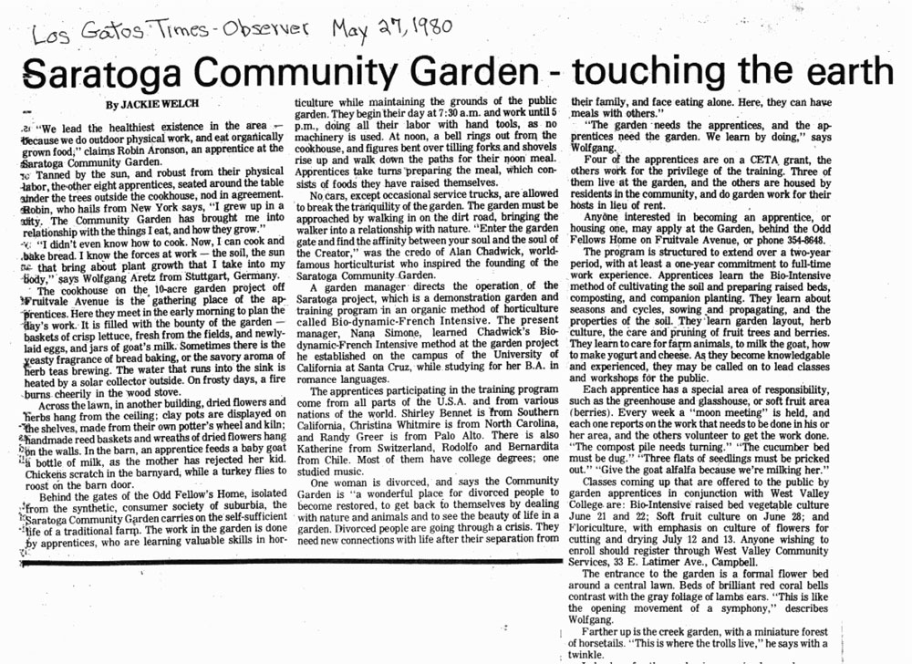 Saratoga Community Garden, article by Jackie Welch, 1980