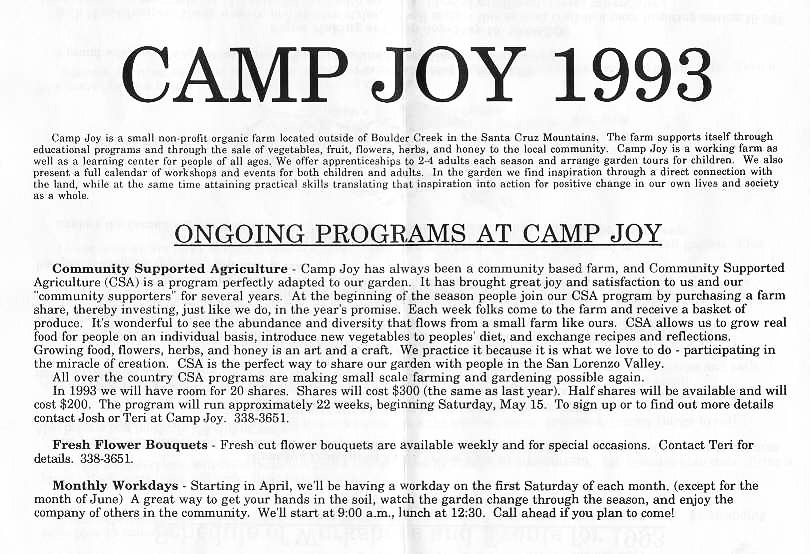 Camp Joy Newsletter 1993